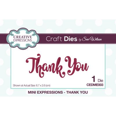Creative Expressions Craft Dies By Sue Wilson Mini Expressions Thank You - CEDME003