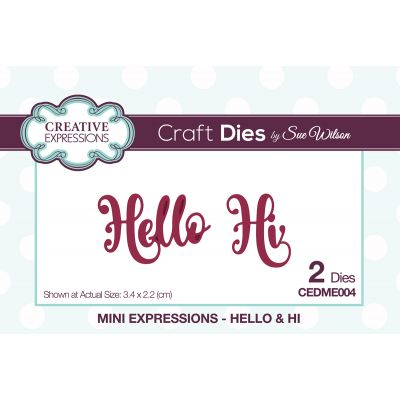Creative Expressions Craft Dies By Sue Wilson Mini Expressions Hello & Hi - CEDME004