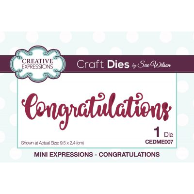 Creative Expressions Craft Dies By Sue Wilson Mini Expressions Congratulations - CEDME007