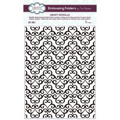 Creative Expressions Embossing Folder By Sue Wilson Heart Scrolls - EF091