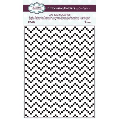 Creative Expressions Embossing Folder By Sue Wilson Zig Zag Squares - EF094