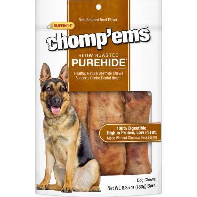 Ruffin' It Chomp'Ems Purehide Bars 6.35Oz Smoked Beef Flavor - 21000