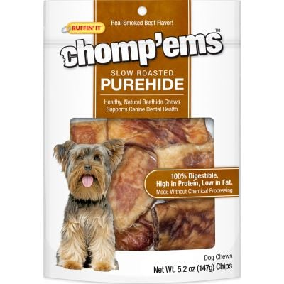 Ruffin' It Chomp'Ems Purehide Chips 5.2Oz Bag Smoked Beef Flavor - 21004