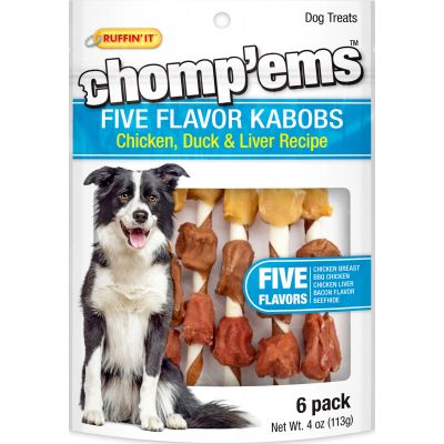 Ruffin' It Chomp'Ems Five Flavor Kabobs 6/Pkg 4Oz Chicken, Duck & Liver - 8252