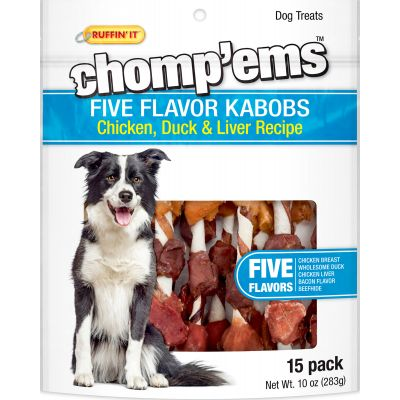 Ruffin' It Chomp'Ems Five Flavor Kabobs 15/Pkg 10Oz Chicken, Duck & Liver - 8253