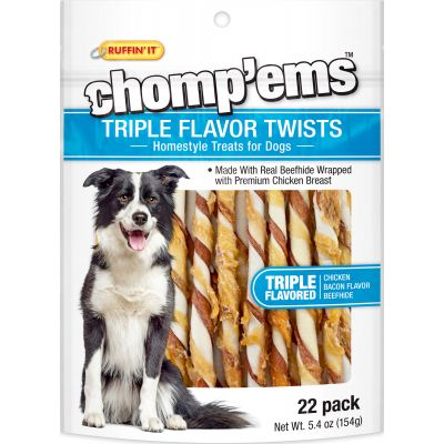 Ruffin' It Chomp'Ems Triple Flavor Twists 22/Pkg 5.4Oz Chicken, Bacon & Beefhide - 8258