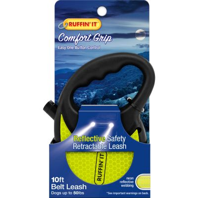 Ruffin' It Reflective Safety Retractable Leash 10 Feet Black W/Neon Reflective Webbing - 98637
