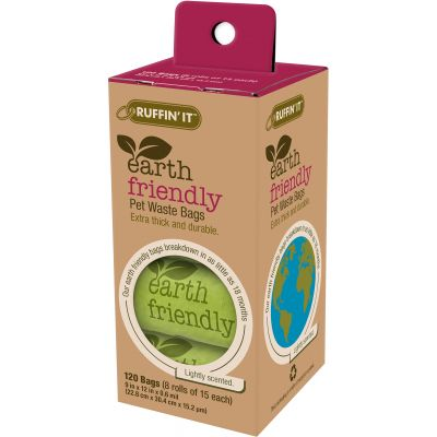 Ruffin' It Earth Friendly Pet Waste Bags 120/Pkg 8 Rolls W/15 Bags Each, Lightly Scented - 19360