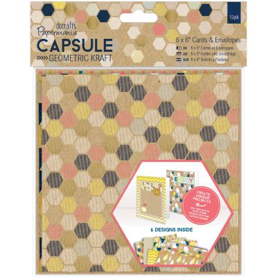 Papermania Geometric Kraft Cards W/Envelopes 6