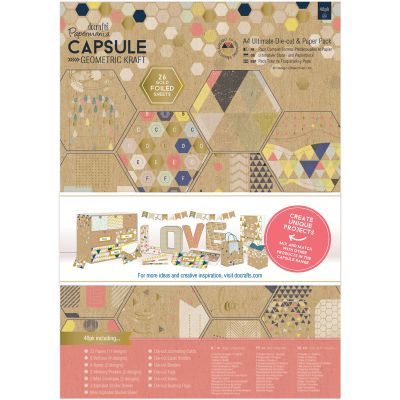 Papermania Ultimate A4 Die Cuts & Paper Pack 48/Pkg Geometric Kraft - PM160246