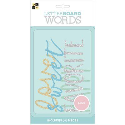 DCWV Letterboard Words 4/Pkg-Love, Glitter