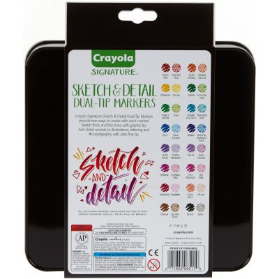 Crayola Signature Sketch & Detail Dual Tip Markers W/Tin Assorted Colors 16/Pkg - 58-6511