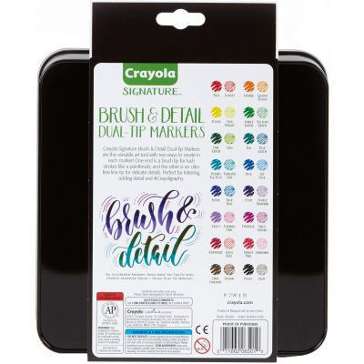 Crayola Signature Brush & Detail Dual Tip Markers W/Tin Assorted Colors 16/Pkg - 58-6501