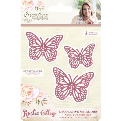 Sara Davies Signature Rustic Cottage Metal Dies Chic Butterflies - RCMDCBUT