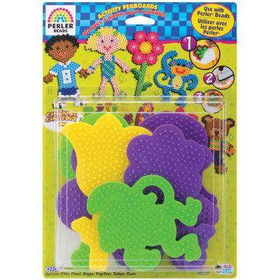 Perler Fun Fusion Pegboards 7/Pkg Boy/Girl/Bear/Monkey/Butterfly/2 Flowers - 22645