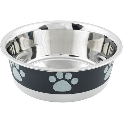 Non Skid Bonded Stainless Steel Bowl 1Pt Black With Grey Print - 32070
