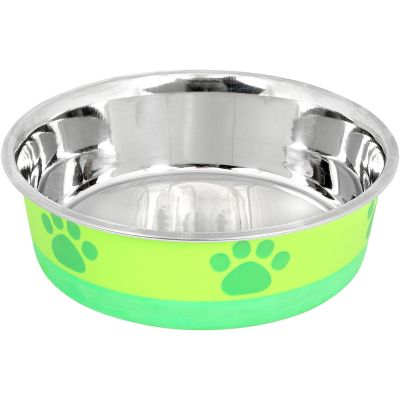 Non Skid Bonded Stainless Steel Bowl 1Pt Lime With Green Print - 32015