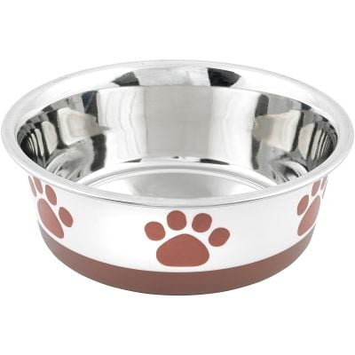 Non Skid Bonded Stainless Steel Bowl 1Qt White With Brown Print - 32050