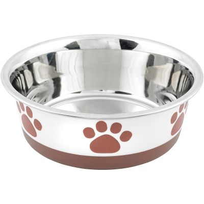 Non Skid Bonded Stainless Steel Bowl 2Qt White With Brown Print - 32060