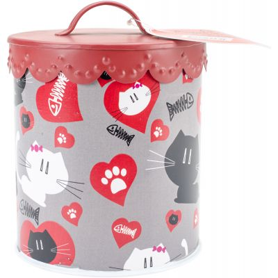 Kitty Amore' Treat Canister Grey - 1315