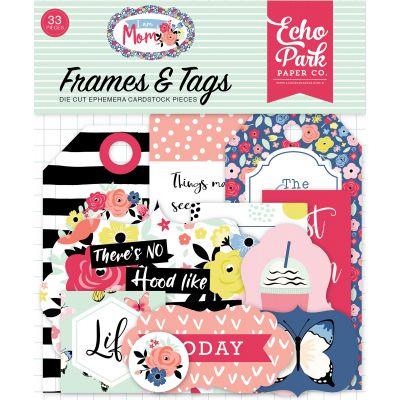 I Am Mom Cardstock Die-Cuts 33/Pkg-Frames & Tags