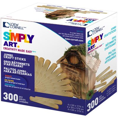 Simply Art Wood Jumbo Craft Sticks Natural 6