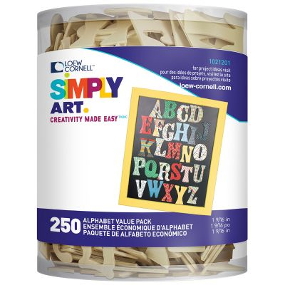 Simply Art Wood Alphabet 250/Pkg Natural 1.5625