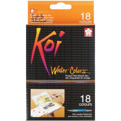 Koi Watercolor Pocket Field Sketch Box  18 Colors Assorted Colors - XNCW18N