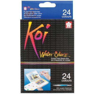 Koi Watercolor Pocket Field Sketch Box  24 Colors Assorted Colors - XNCW24N