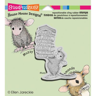 Stampendous House Mouse Cling Stamp Stack Of Books - HMCV08