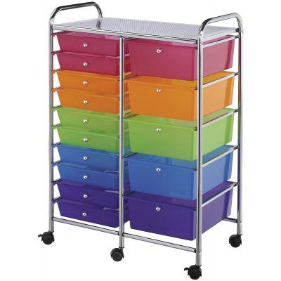 Double Storage Cart W/15 Drawers 25.5