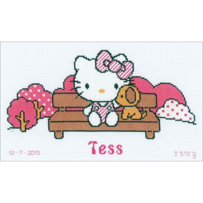 Hello Kitty In The Park On Aida Counted Cross Stitch Kit 12.8