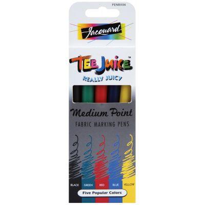 Jacquard Products Tee Juice Medium Point Fabric Pens 5/Pkg Classics - PENBX06