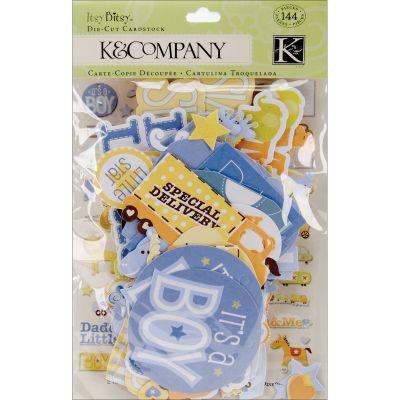 K&Companycardstock Die Cuts 144/Pkg Itsy Bitsy Baby Boy - K591820
