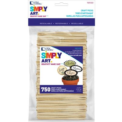 Simply Art Wood Craft Picks Natural 3.5