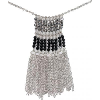 Estrella (TM) Crystal Beaded Flat Silver Chain-12