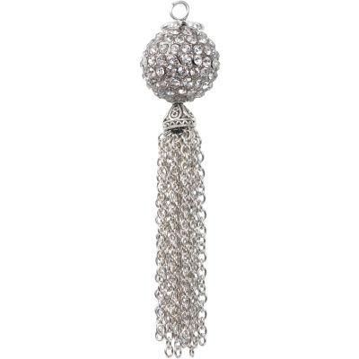 Estrella (TM) Metal Pendant W/Chain Tassel-Disco Ball Crystal
