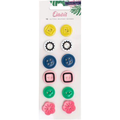 Oasis Plastic Buttons 12/Pkg  - 378998