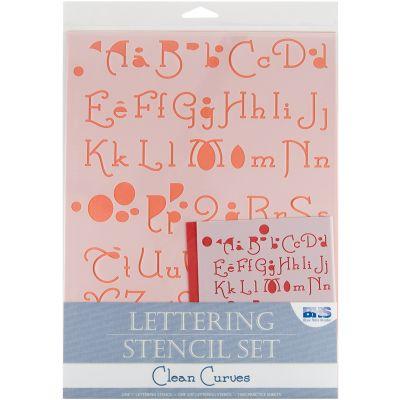 Lettering Stencil 4Pc Sets Clean Curves - BHS-LSET-108