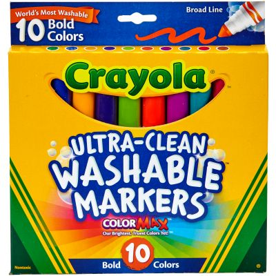 Crayola Ultra Clean Color Max Broad Line Washable Markers Bold Colors 10/Pkg - 58-7853
