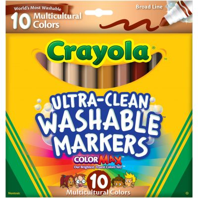 Crayola Ultra Clean Color Max Broad Line Washable Markers Multicultural 10/Pkg - 58-7857