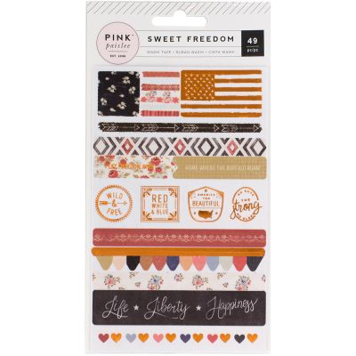 Sweet Freedom Washi Sticker Sheets 3/Pkg Strips & Shapes W/Copper Foil - 310251