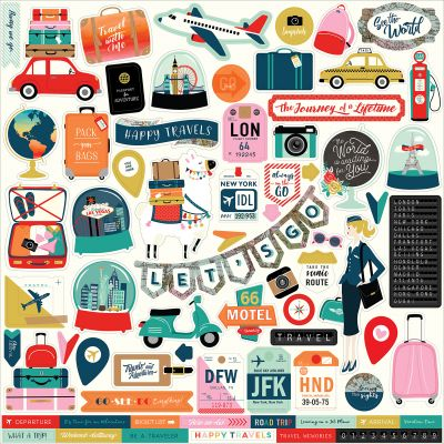 Pack Your Bags Cardstock Stickers 12