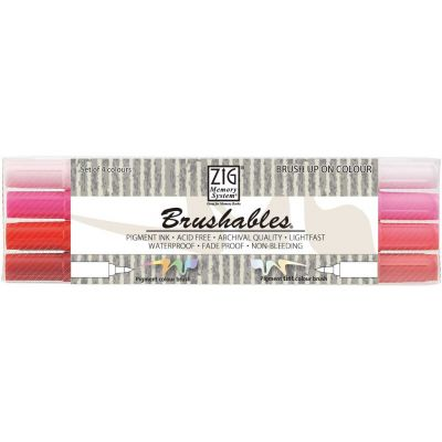 ZIG Memory System Brushables Dual-Tip Markers 4/Pkg-Red