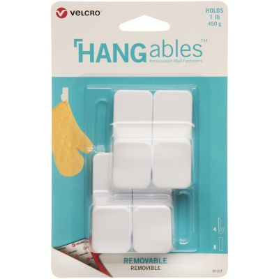 Velcro(R) Brand HANGables Removable Small Hook 4/Pkg-White, Holds Up To 1lb