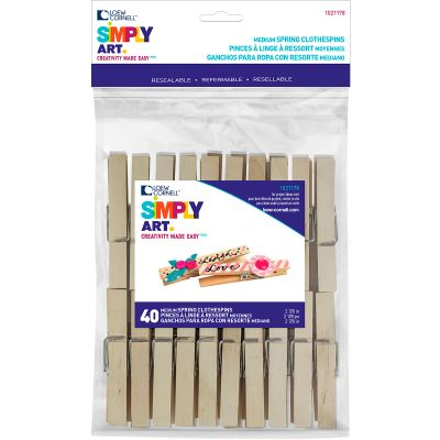 Simply Art Wood Medium Spring Clothespins Natural 2.88