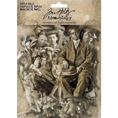 Idea Ology Paper Dolls Die Cuts 107/Pkg Vintage Black & White .75