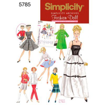 Simplicity 11 1/2 Fashion Doll Clothes One Size - U05785OS