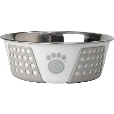 Petrageous Designs Stainless Steel Bowl  Holds 3.75 Cups White/Gray - 13095