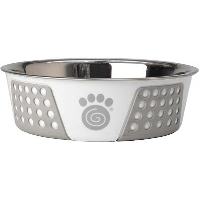 Petrageous Designs Stainless Steel Bowl  Holds 6.5 Cups White/Gray - 13096